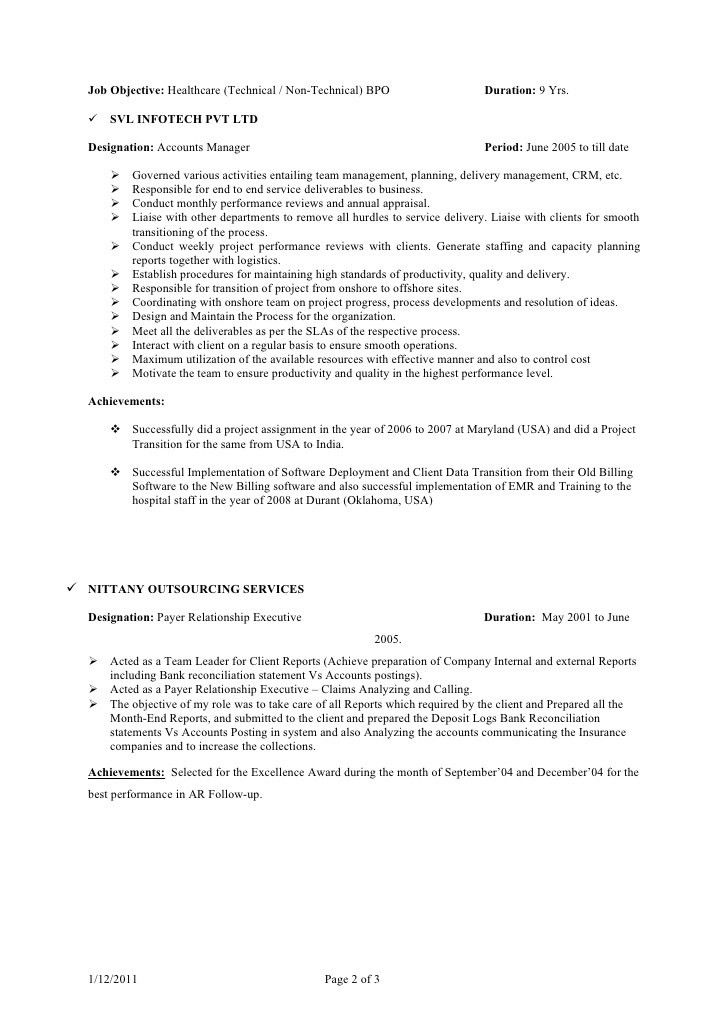 sample resume template free. sample bpo resume bpo resume pdf ...