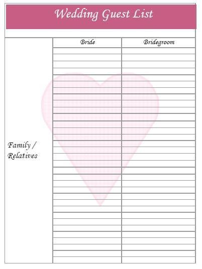 free printable wedding guest list template with simple table ...