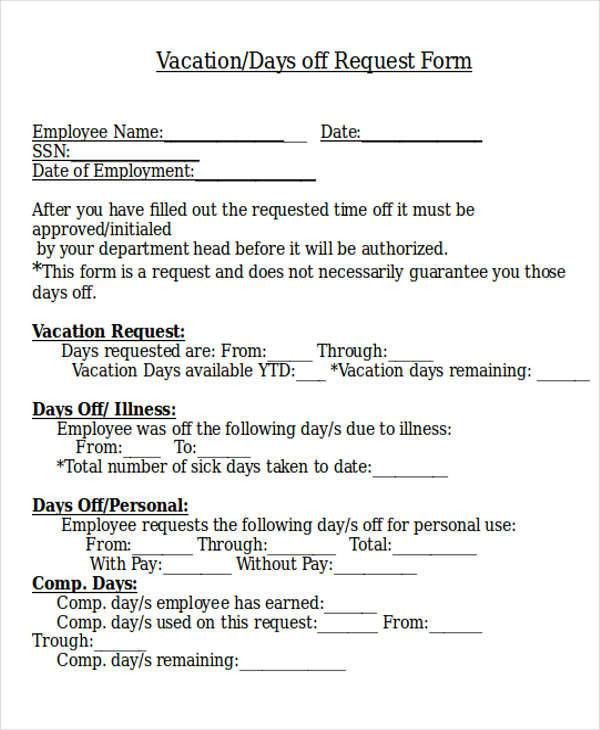 Sample Day Off Request Form   7+ Examples In Word, PDF