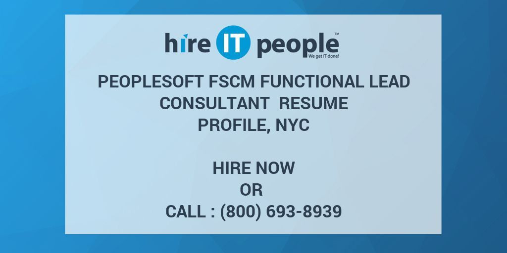 PeopleSoft FSCM Functional lead consultant Resume Profile, NYC ...