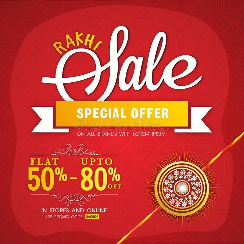 Rakhi Sale Poster, Banner Or Flyer Design. Stock Illustration ...