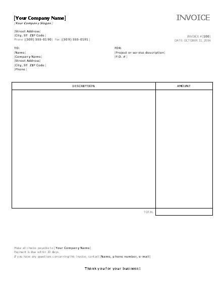Service Invoice Templates Word Templates Free Office Templates ...