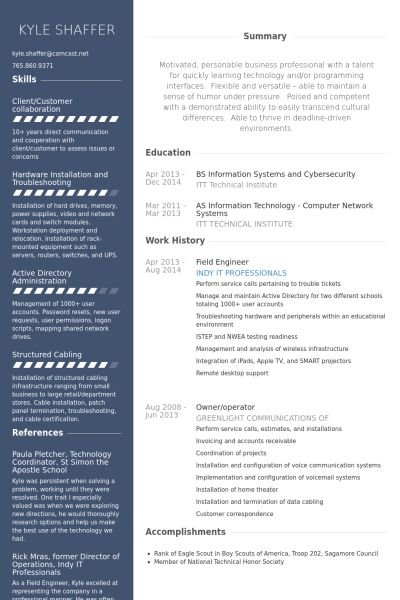 Download It Field Engineer Sample Resume | haadyaooverbayresort.com