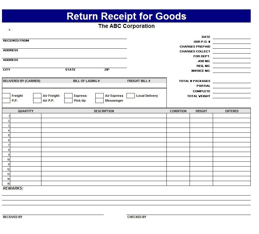 Return Receipt Template - Word Excel Formats