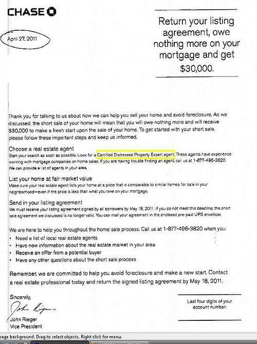 Chase Bank Short Sale Incentive Letter | Rock Realty
