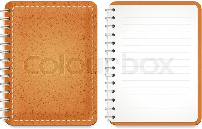 Illustration of a leather notebook with spiral, opened notepad ...