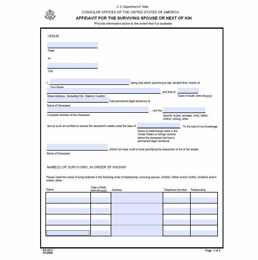 Free Affidavit of Surviving Spouse or Next of Kin - WikiForm ...