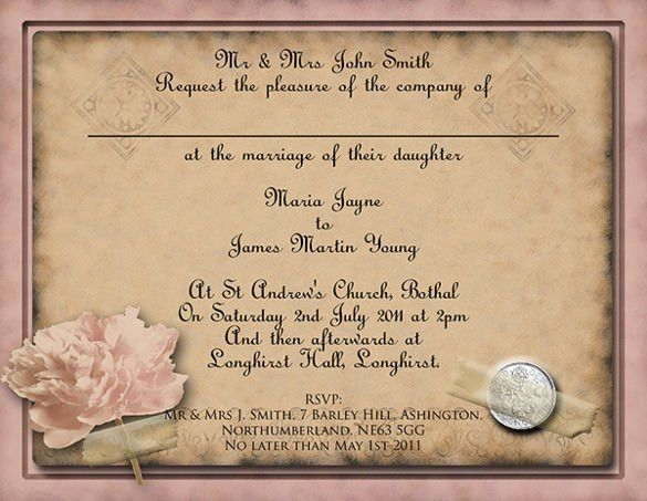 26+ Vintage Wedding Invitation Templates – Free Sample, Example ...