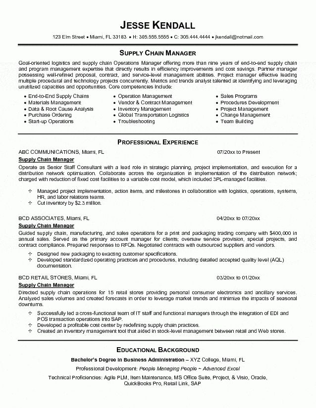 Chain Manager Resume