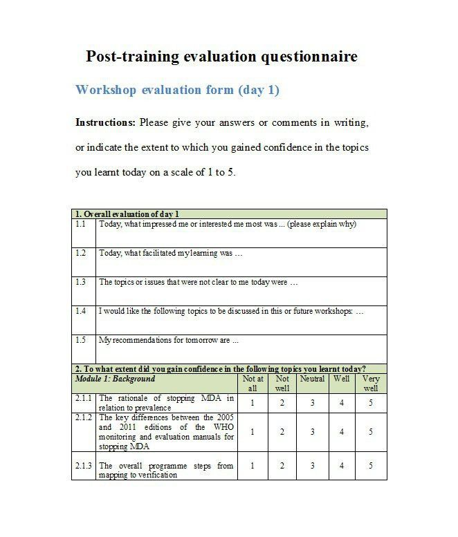 Sample Training Survey. Training Evaluation Survey Template ...