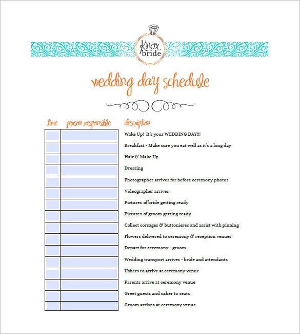 Wedding Agenda Template – 8+ Free Word, Excel, PDF Format Download ...