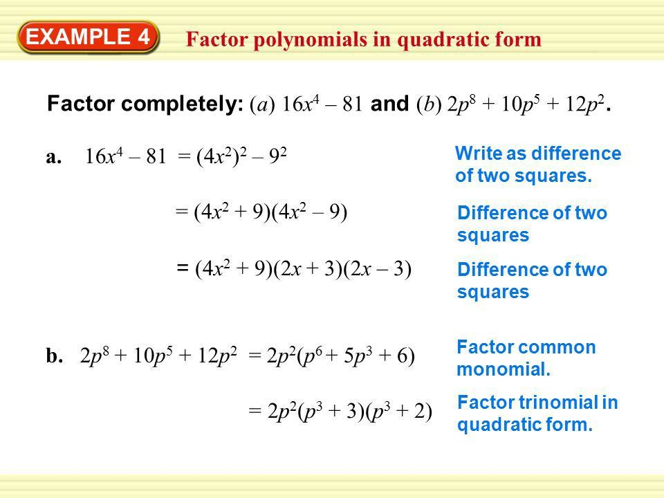 Warm-Up Exercises EXAMPLE 1 Find a common monomial factor Factor ...