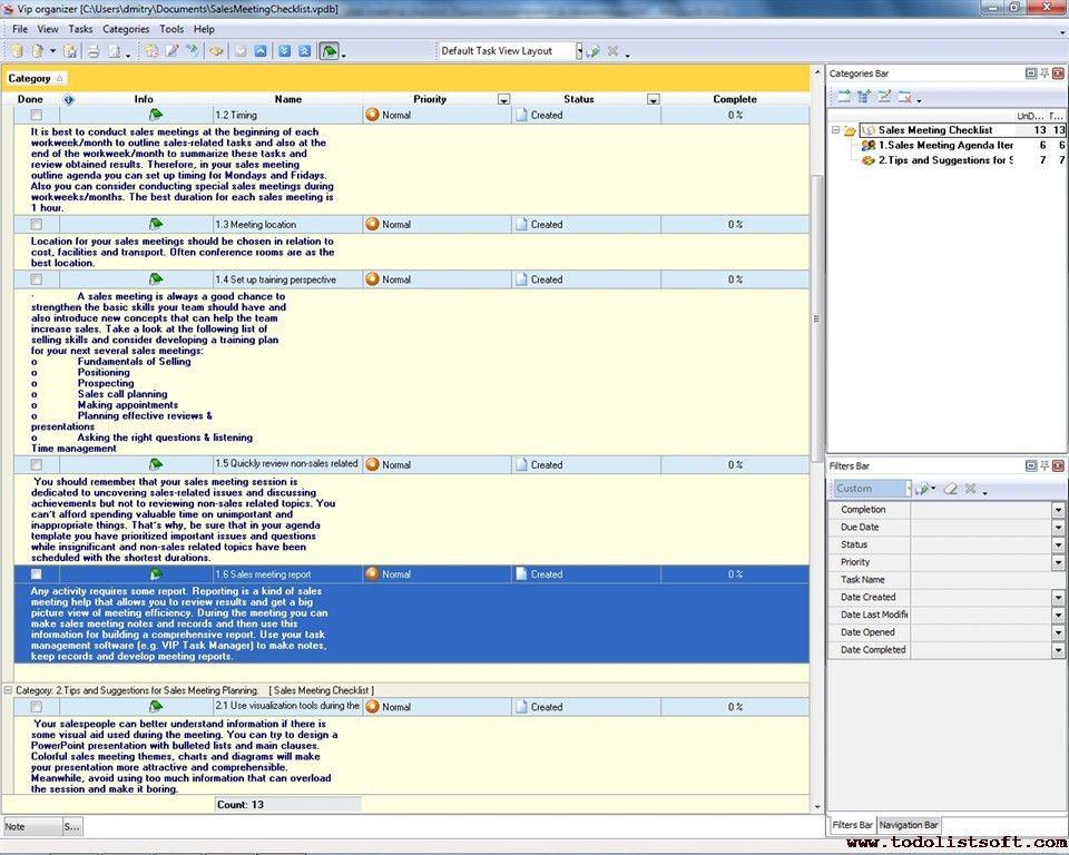 Sales Meeting Checklist - To Do List, Organizer, Checklist, PIM ...