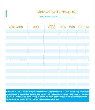 Medication Checklist Templates - 8+ Free PDF Documents Download ...