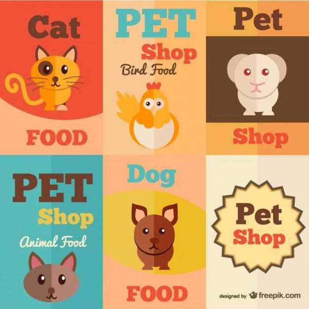 Pet shop retro drawing posters Vector | Free Vector Download In ...
