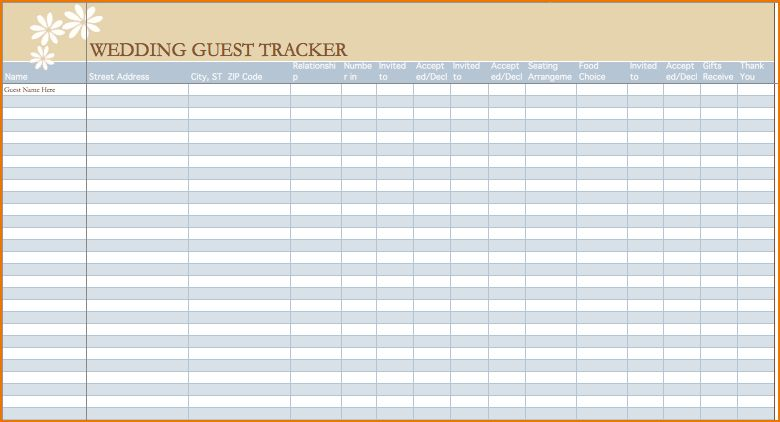 wedding guest list spread sheet - Template