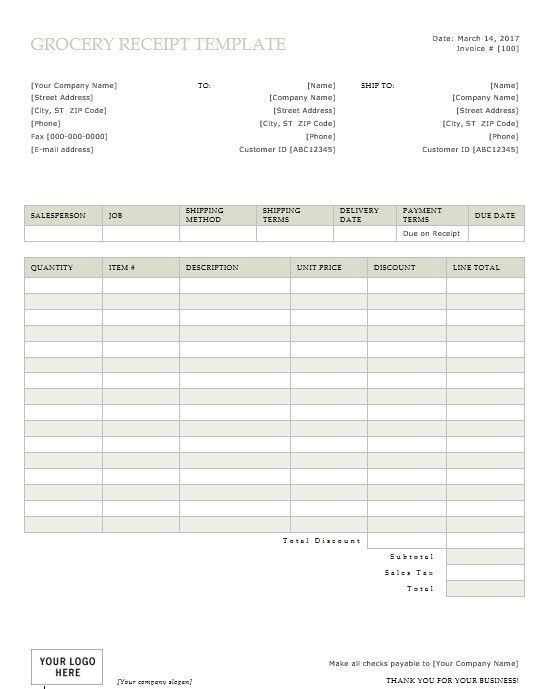 9 Free Sample Grocery Payment Receipt Templates – Printable Samples