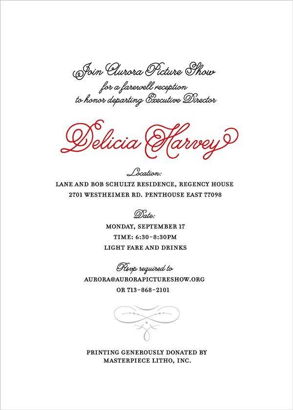 Example Invitation Farewell Party - Wedding Invitation Sample