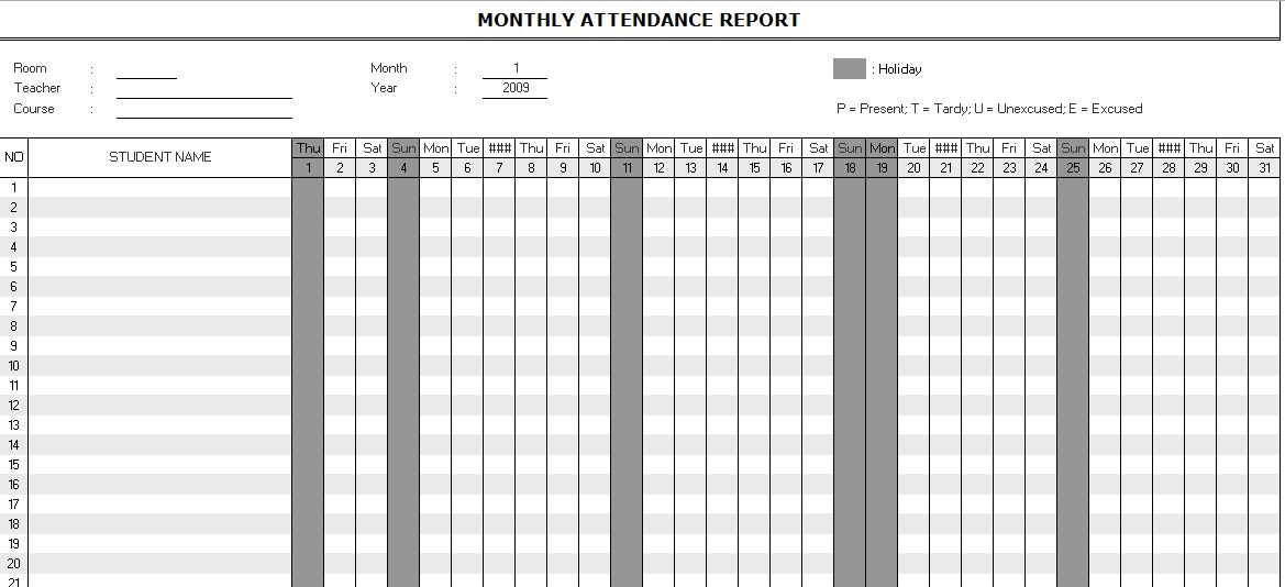 Monthly Attendance Report Template | Microsoft Excel Templates