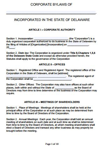 Free Delaware Corporate Bylaws Template | PDF | Word |