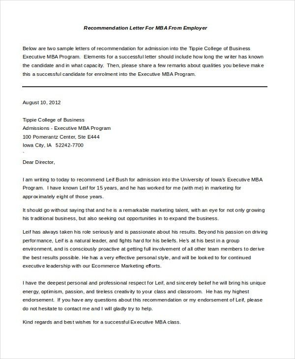 Sample Letter of Recommendation For Employment - 8+ Free Documents ...