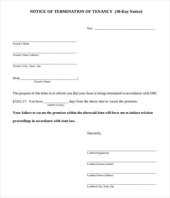 30 Day Notice Template. Sample 30 Day Notice Template - 8+ Free ...