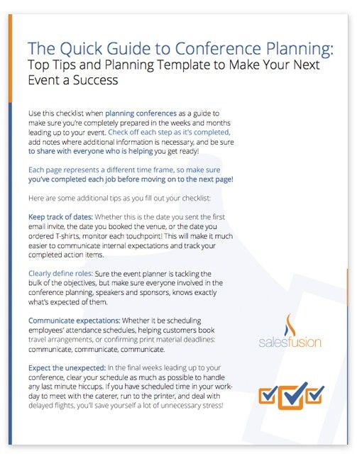 Conference Planning Guide: Top Tips and Planning Template
