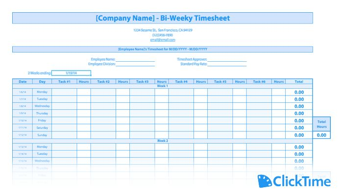 Free Timesheet Template | Printable Timesheets | ClickTime