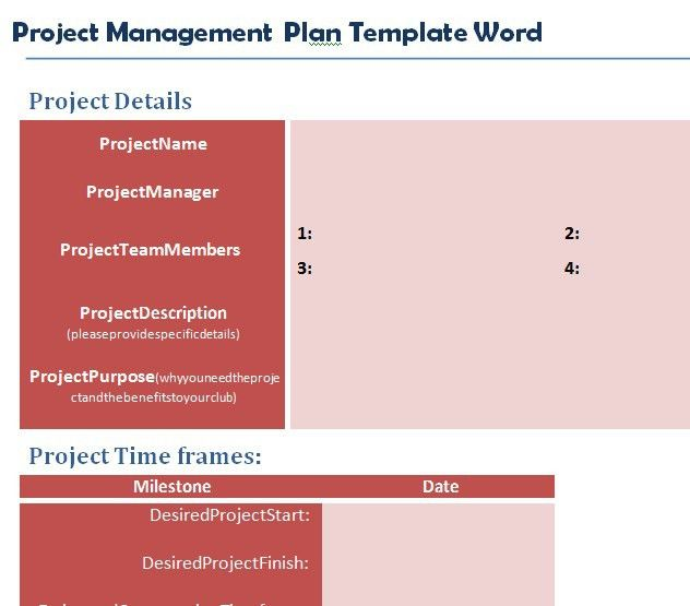 Professional Project Plan Template Word - Project Management ...