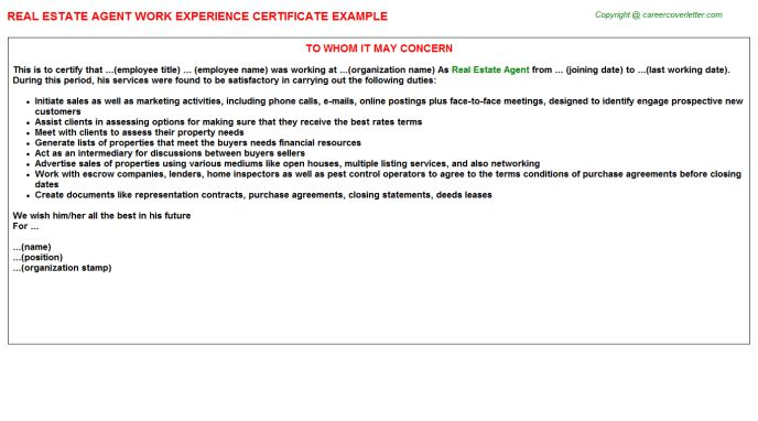 Real Estate Agent Work Experience Certificate