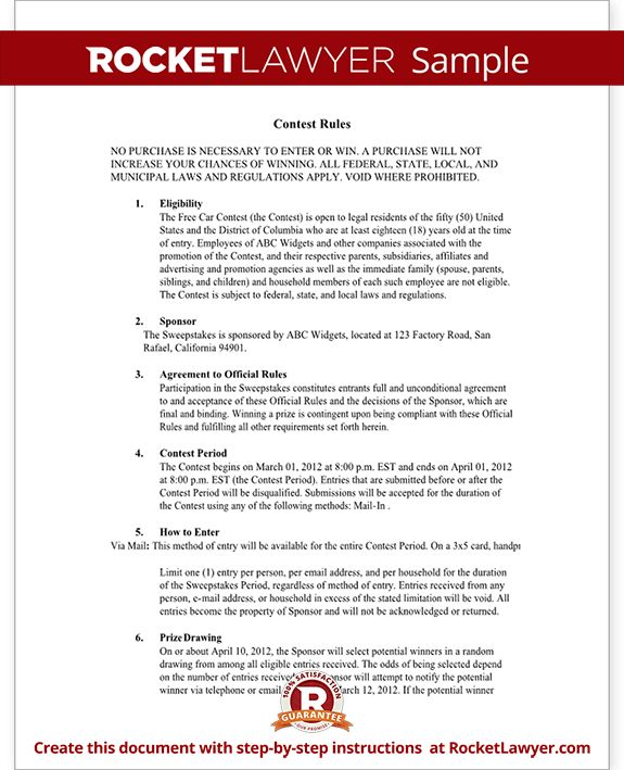 Contest Rules Document - Rules for Hosting a Contest Template