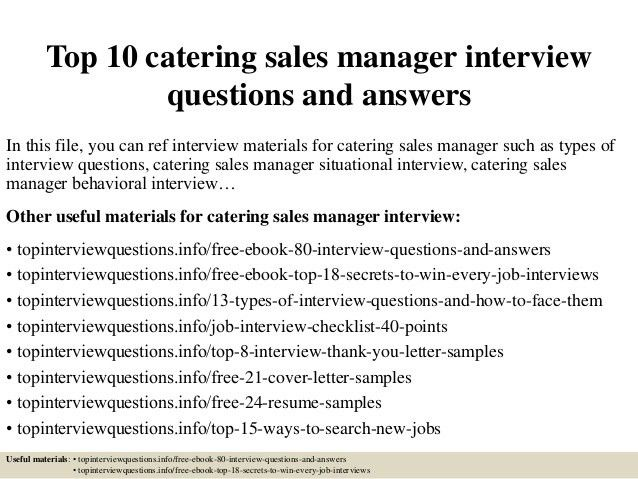 catering sales manager resumes