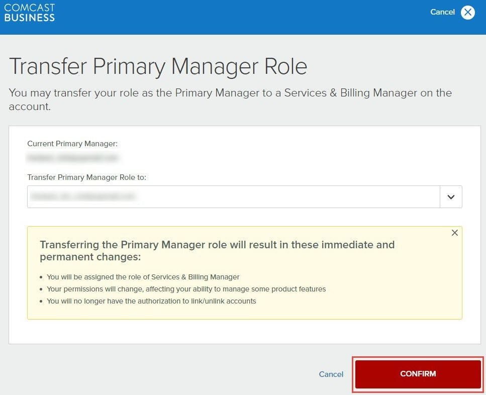 Manage Comcast Business My Account user permissions | Comcast Business