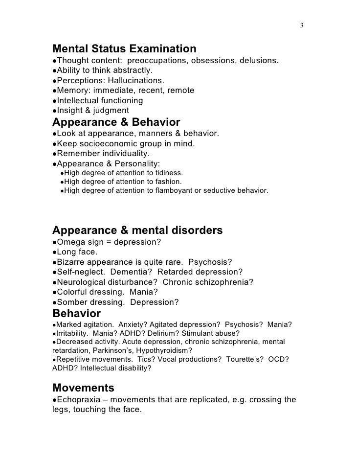 Mental State Examination Template - Corpedo.com
