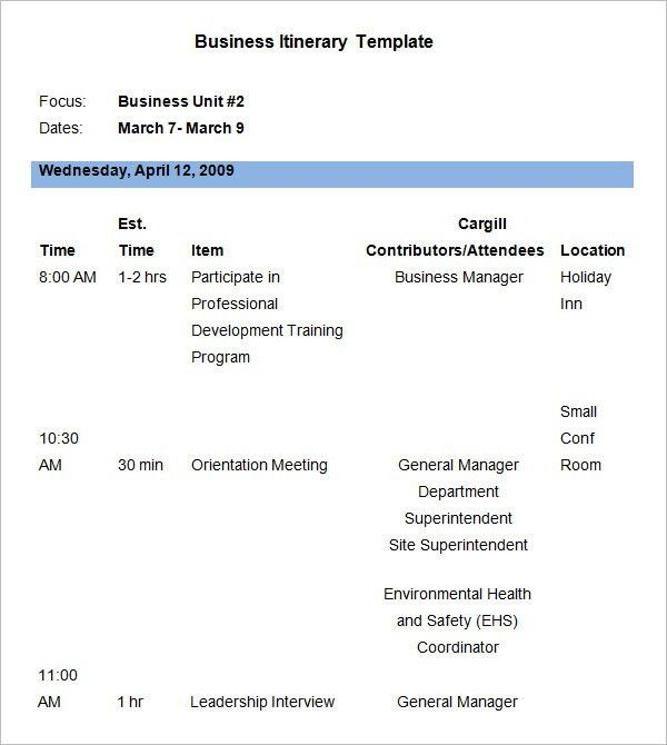 Business Itinerary Template - 7 Free Word, PDF Documents Download ...