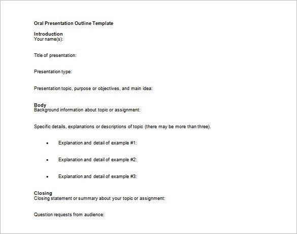 presentation outlines templates presentation outline template 8 ...