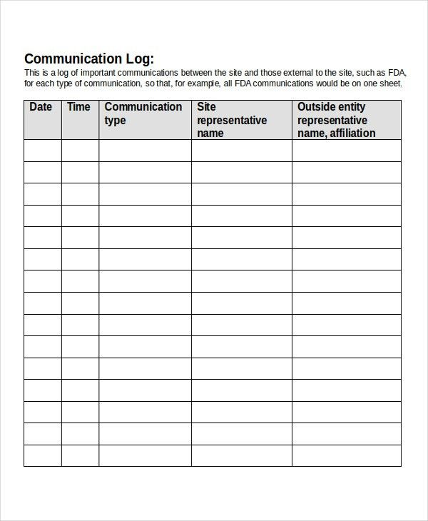 13+ Log Templates - Free Sample, Example, Format | Free & Premium ...