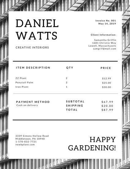 Black and White Architecture Invoice Letterhead - Templates by Canva