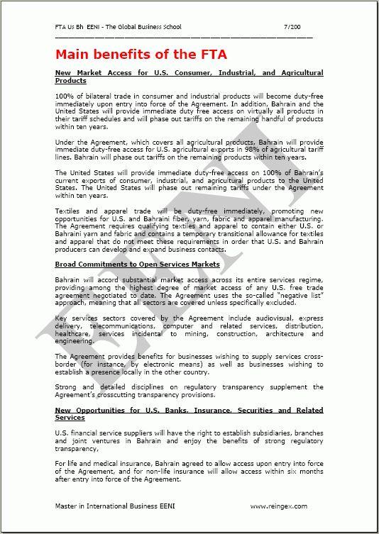 States-Bahrain Free Trade Agreement