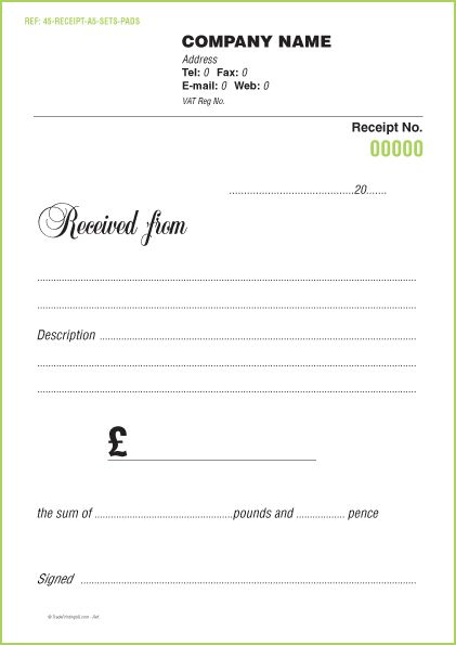 Receipt NCR Sets £35 | FREE Receipt Sets Form Templates