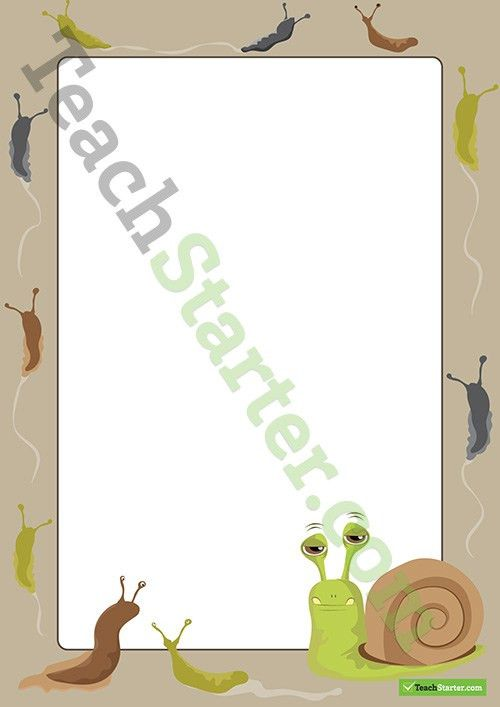 Snail and Slug Minibeast Page Border - Word Template Teaching ...
