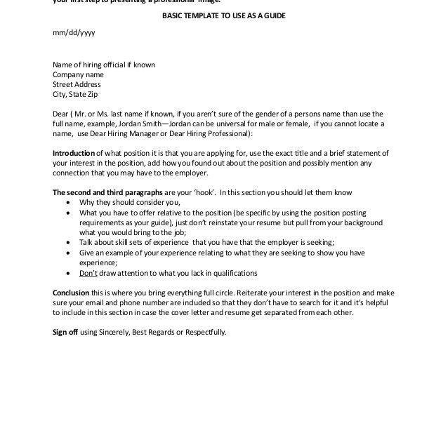 Marvellous Design Cover Letter Basics 1 Template - CV Resume Ideas