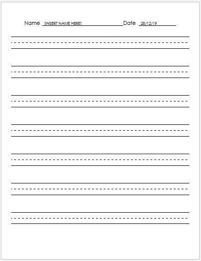MS Word Lined Papers for Handwriting Practice | Word & Excel Templates