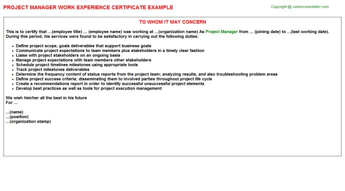 Project Manager Work Experience Certificate