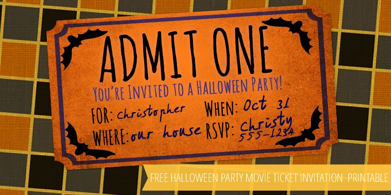 Free Halloween Party Movie Ticket Printable – Frugalful