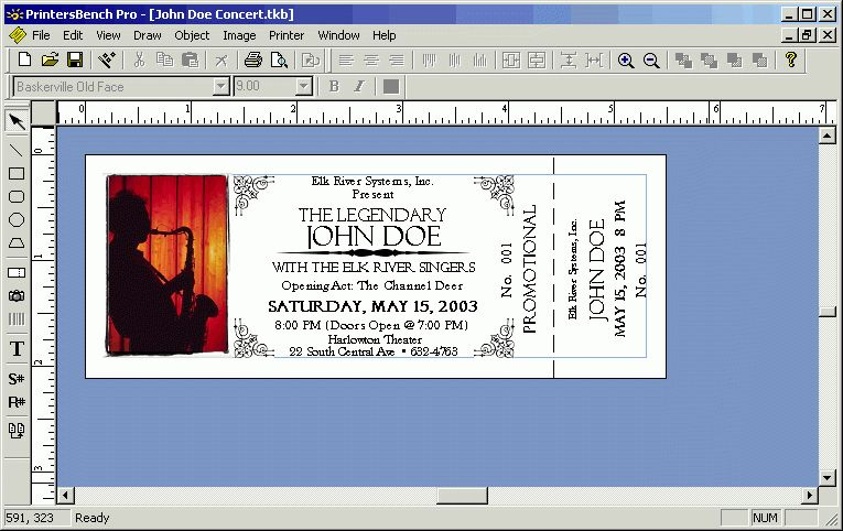 Inspiring Concert Admission Ticket Template Design with White ...