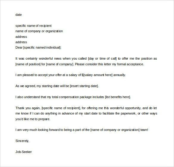 9+ Acceptance Letter Templates – Free Sample, Example Format ...