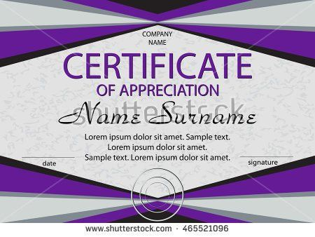 Purple Certificate Appreciation Diploma Horizontal Winning Stock ...
