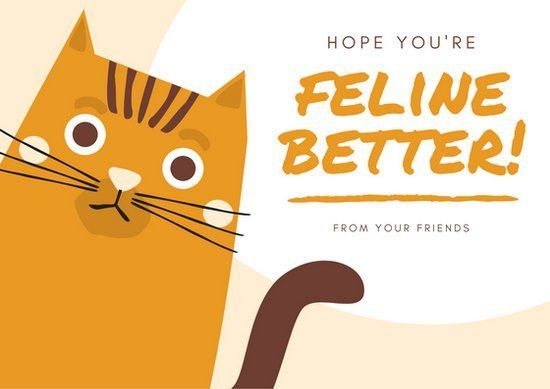Orange Cat Get Well Soon Card - Templates by Canva