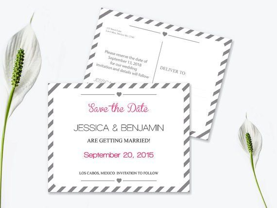 Save The Date Postcard Templates - Silver Grey Carnival Stripes ...
